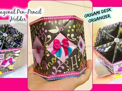 Origami Hexagonal pen-pencil | brush holder | Desk organizer