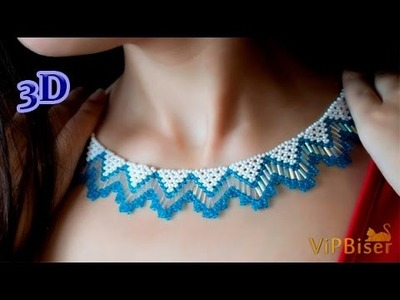Beaded Necklace with Seed&Bugle Beads. 3D Beading Tutorial