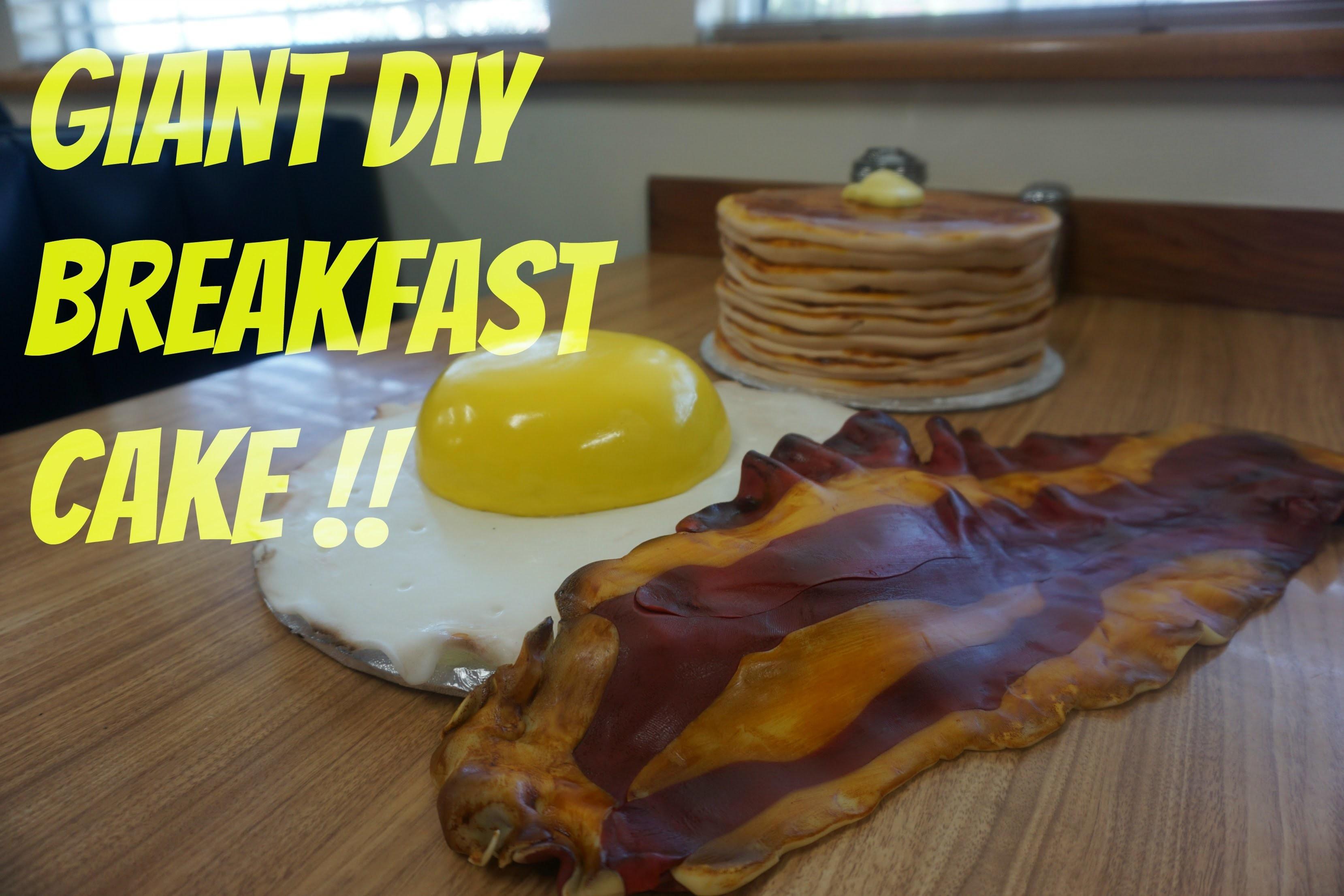 DIY Breakfast Cake Tutorial! GIANT Pancakes, Egg, and Chocolate Bacon!!