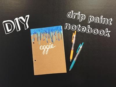 DIY drip paint notebook - back to school.uni