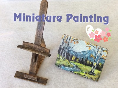 DIY Miniature Painting with Easel for dollhouse - Landscape Oil Painting Tutorial