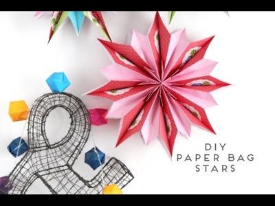Diy Paper Bag Hanging Stars.