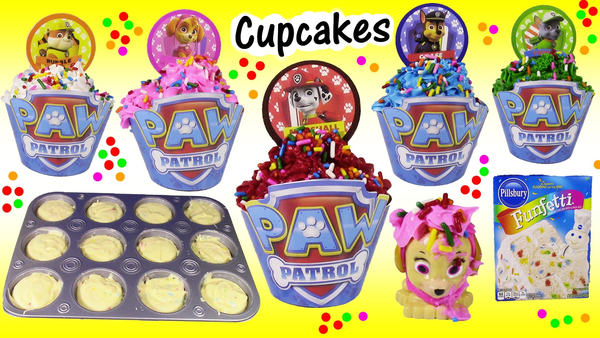 DIY Paw Patrol CUPCAKES! Decorate Chase Marshall Skye Rubble Rocky! ICING SPRINKLES! Baking FUN