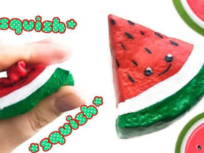 DIY watermelon squishy! Squishie Melon Slice Using Slime Paint!