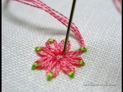 Embroidery Stitches Flowers - Stitch Fun Daisy Stitch in Two Colors + Tutorial .