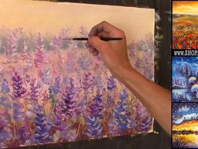 Free Oil Painting Lesson In Real Time - How to paint Glade of gentle flowers