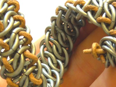 GSG MAILLE TUTORIAL  CHAINMAIL BRACELET WITH LEATHER CORD