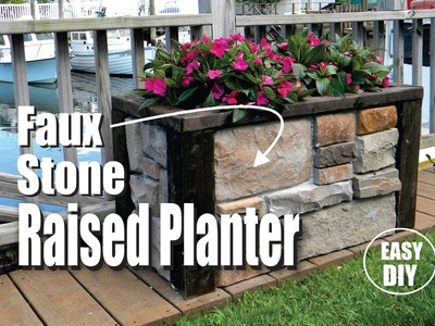How to make a Stone Veneer Raised Planter easy DIY project
