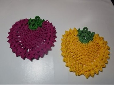 Howto crochet diy pattern tutorial potholders strawberry raspberry blackberry pineapple easy