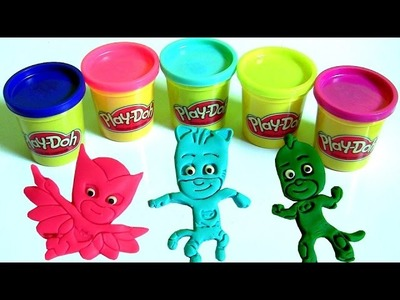 Play Doh PJ MASKS DIY Make Catboy Owlette Gekko Luna Girl Romeo Ninja  Play-Doh SURPRISES 。◕‿◕。