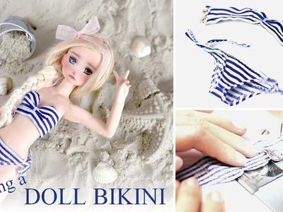 Sewing tutorial ~ DOLL BIKINI.swimsuit ~ pattern making & sewing