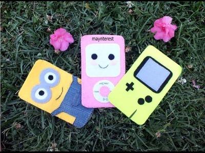 3 DIY FELT PHONE CASES - Minion, Kawaii Ipod, game boy
