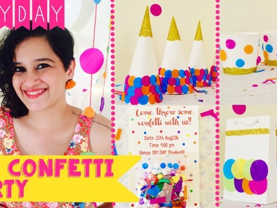 DIY Confetti Party | Invite | Decor | Party Hat | Favour Bags | Cutlery | Party Cups