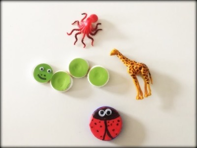DIY Fridge magnet.Recycle bottle cap.small toys.Easy kids craft project
