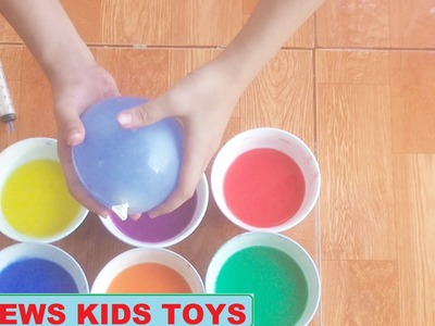 DIY Syringe How To Make 'Colors Bubble Orbeez Slime Glue Water Balloons' Learn Colors Slime Poop