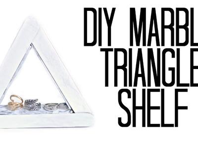 EASY DIY MARBLE TRIANGLE WALL SHELF   DORM DECOR + COLLAB