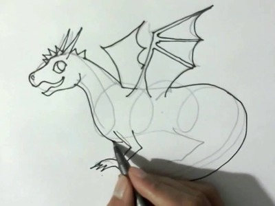How to draw a cartoon Dragon  - in easy steps for children, kids, beginners