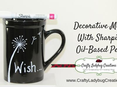 How to make an EASY DIY Sharpie Mug! Dandelion Design by Crafty Ladybug Creations