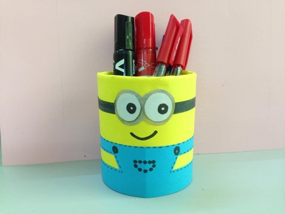 How to make minion pencil holder | Easy arts & crafts | DIY School Supplies