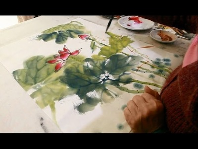How to Paint Lotus painting in Chinese Watercolor