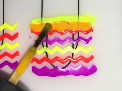 Neon Chevrons Nail Art - DIY