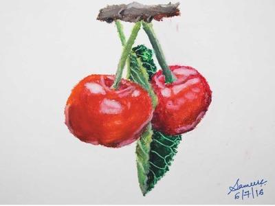 Oil Pastel Tutorial | How to draw Cherries | Saminspire