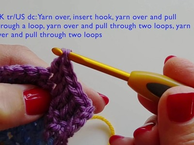 Right handed tutorial for five basic crochet stitches in UK and US terms