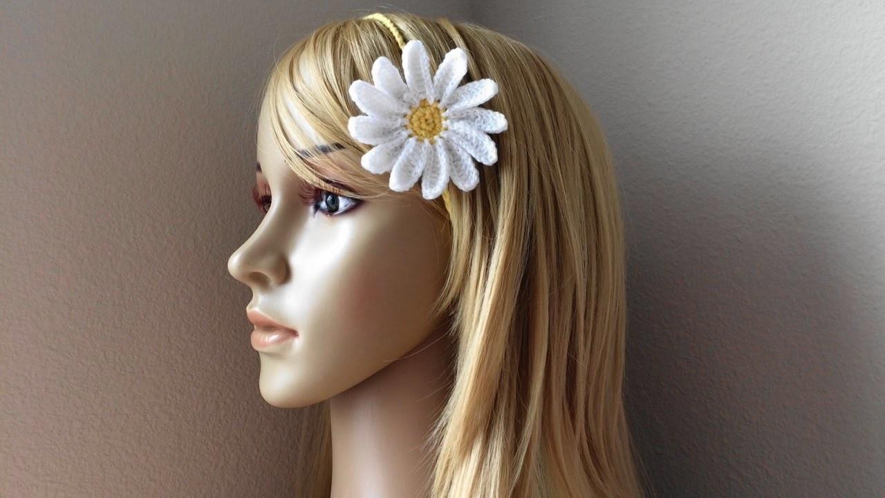 How To Crochet A Daisy Headband, Lilu's Handmade Corner Video # 89