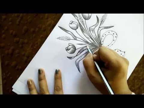 How to draw tulips bouquet