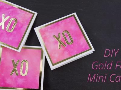 How to Make Mini Distress Watercolor + Gold Foil Note Cards