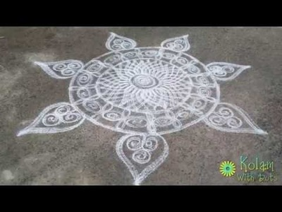 How to put rangoli kolam - rangoli designs - freehand kolam!