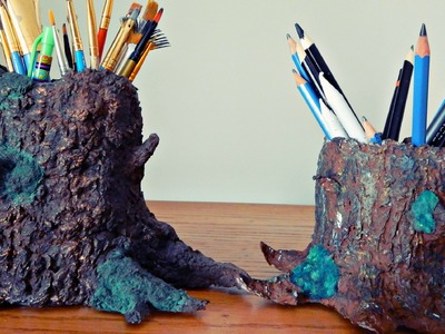 Paper Mâché Tree Trunk | DIY Pencil.Painbrush Holder