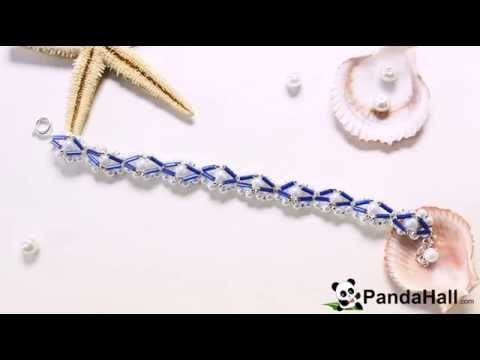 Summer Jewelry   How to Make a Woven Bracelet with White Pearl Beads and Blue Tube Beads