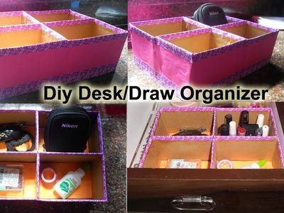 Diy desk organizer | draw organizer with cardboard boxes