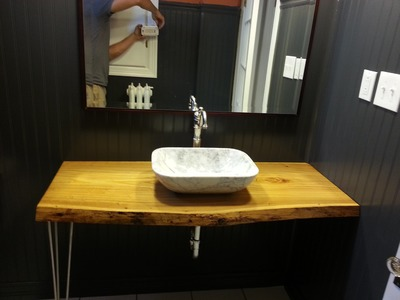 DIY Pintrest Bathroom Makeover with live edge counter top
