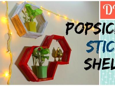 DIY : Popsicle stick Shelf - How to make hexagon shelves - Room Decor