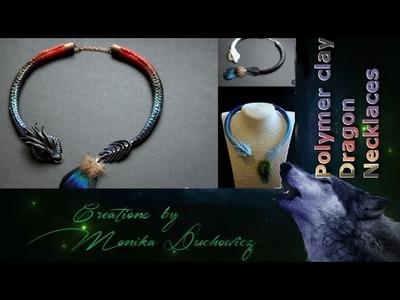 Dragon polymer clay necklaces.smocze naszyjniki