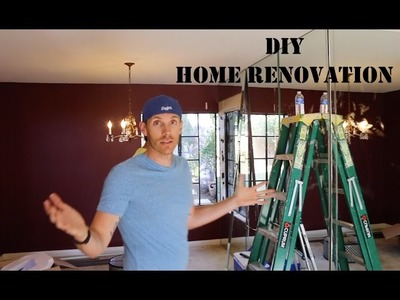 How to Renovate a New Home. I Can Help -- DIY Living Room Mirrored Wall Removal