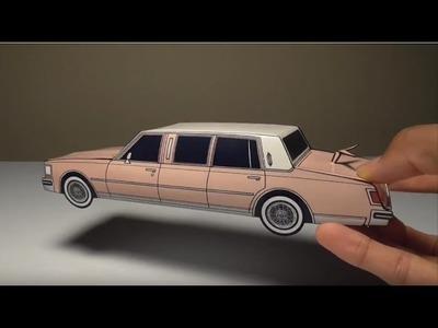 JCARWIL PAPERCRAFT 1978 Cadillac Seville Limo (Building Paper Model Car)