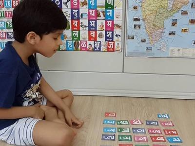 Learning Indian Language_5: Moksh's DIY Hindi. Marathi Letters Bingo Activity With Charts & Magnet