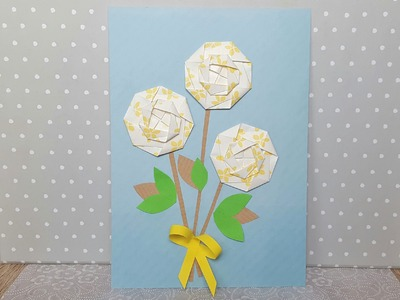 Origami Geburtstagskarte mit Blume.How to make a Birthday Card with an Origami Flower