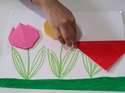 Origami Tulip Flowers - Simple and Easy Paper Art Crafts for Kids and Everbody