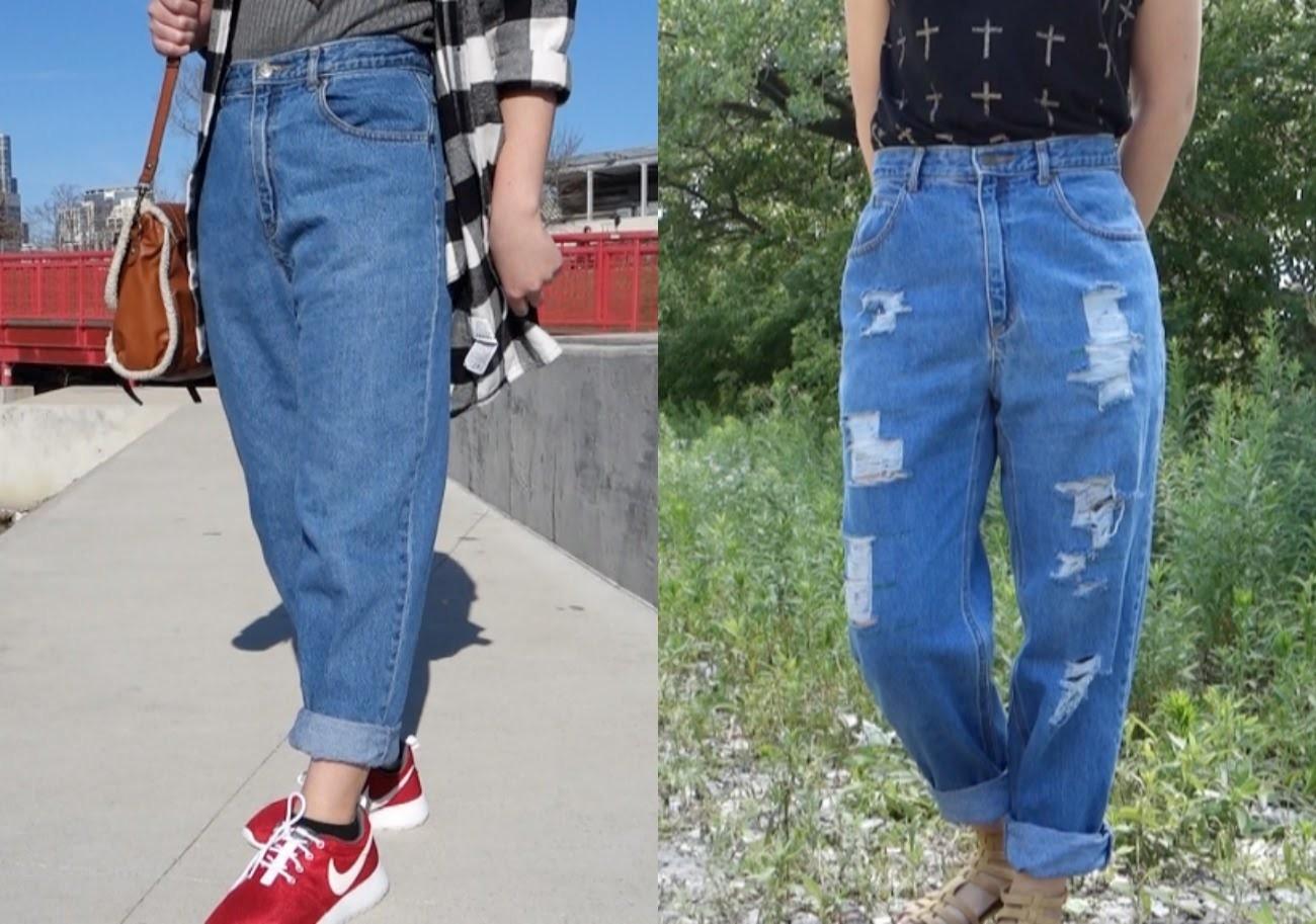 Diy Distressed Boyfriend Jeans Up Close