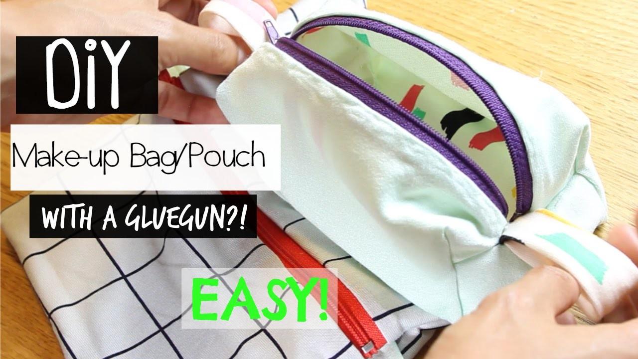 DIY Makeup Bag.Pouch  |  With a GLUEGUN?  |  MaryBe
