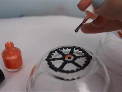 DIY Painted glass bowls using nail polish!