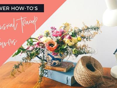 DIY Whimsical Low Teacup Flower Arrangement