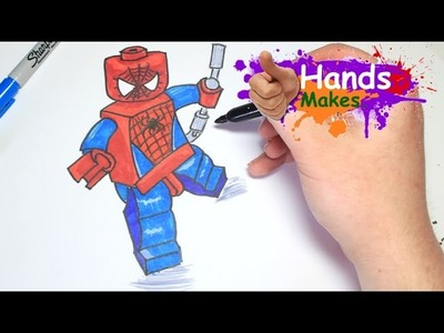 Easy How To Draw Lego Spiderman Cartoon For Kids