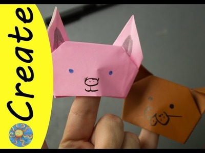 How to make Origami Finger Puppets - Dog, Pig