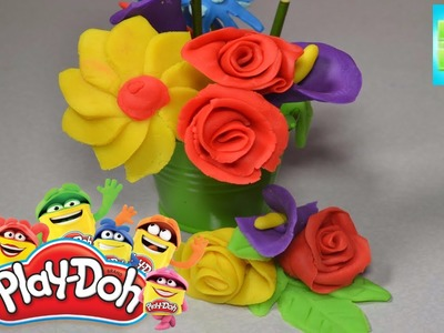 Playdough Colorful flowers . How to make Play-doh basket with funny Flowers Handmade rainbow basket