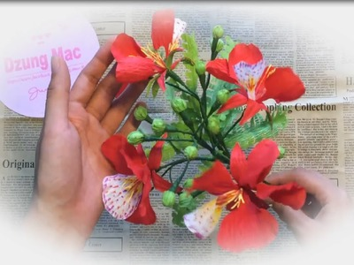 5 Minute Craft - How to make paper flower - Mohur tree